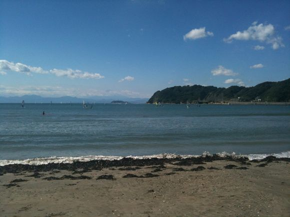Mt. Fuji, Enoshima island, and the ocean from Zushi after a typhoon's gone.